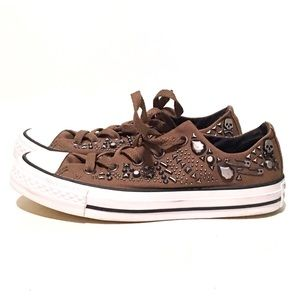 Converse All Star RARE Olive Skull & Studs Shoes